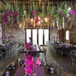 flowers-hanging-lights-wedding-reception