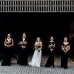 bride-bridesmaid-black-dresses