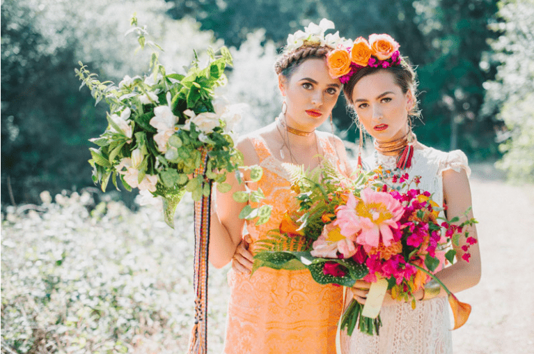 mexican-theme-bride-bridesmaid-flowers-bright