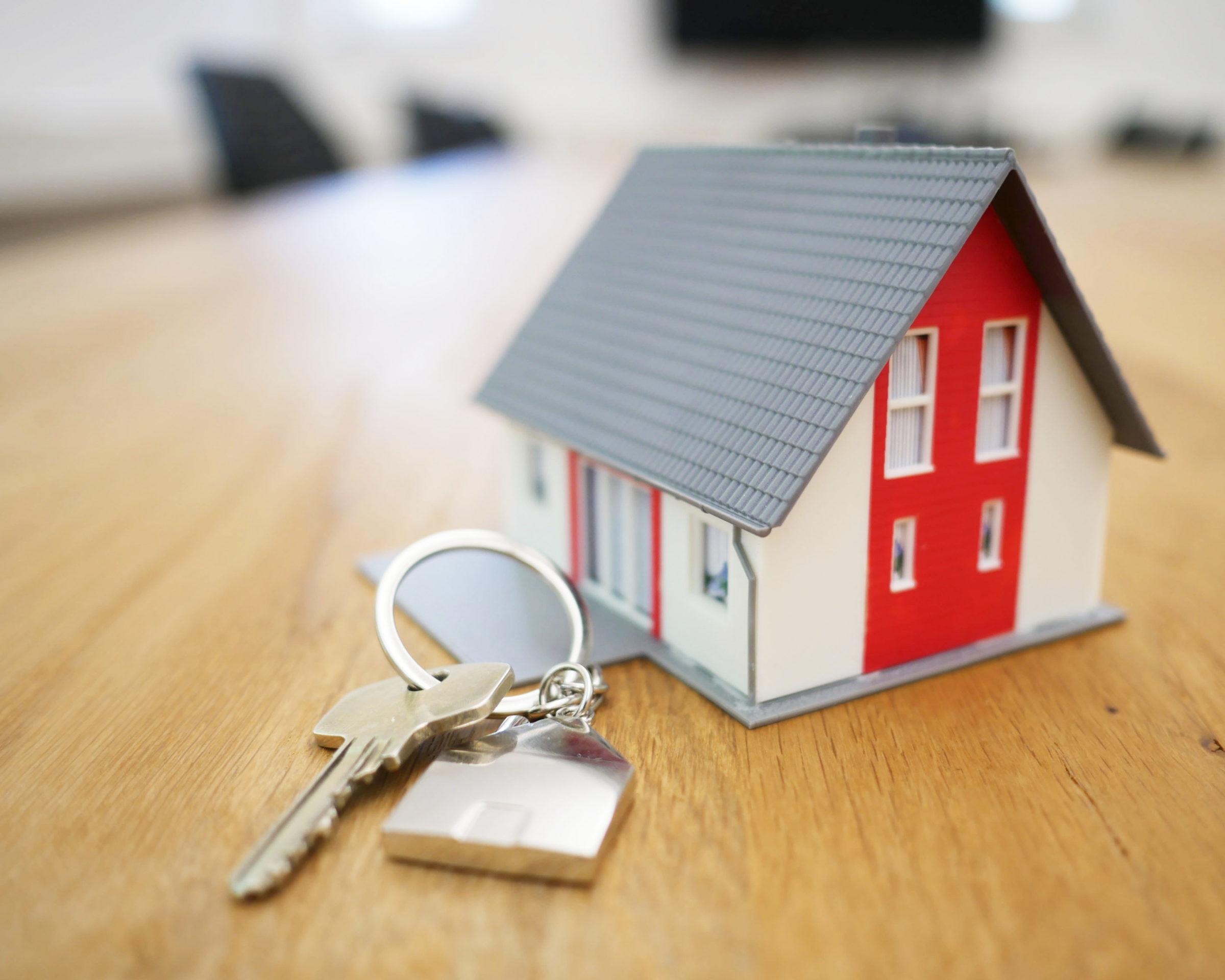 grey-white-red-house-model-keys