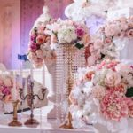 pink-white-flowers-bouquet-candles