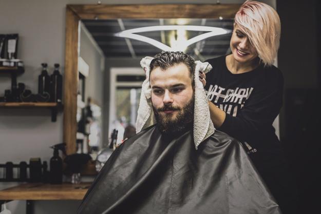 woman-man-hair-beard-drying