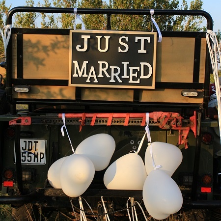 safari-van-just-married-balloons